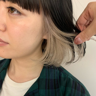 ワンカール ボブ インナーカラー インナーカラーボブ ヘアスタイルや髪型の写真・画像