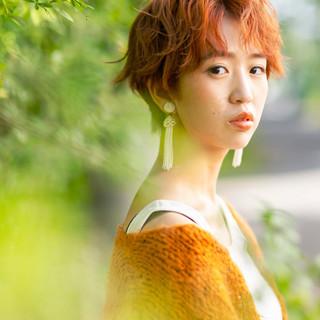 ベリーショート ナチュラル ウルフカット オレンジカラー ヘアスタイルや髪型の写真・画像