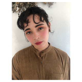 簡単ヘアアレンジ ボブ アンニュイほつれヘア パーマ ヘアスタイルや髪型の写真・画像