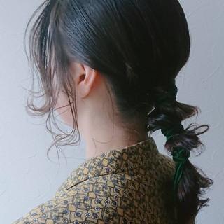 リボン トレンド セミロング ヘアアレンジ ヘアスタイルや髪型の写真・画像