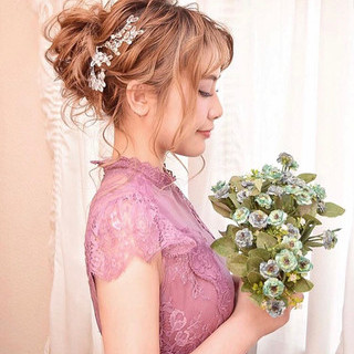 ヘアアレンジ エレガント セミロング 結婚式 ヘアスタイルや髪型の写真・画像