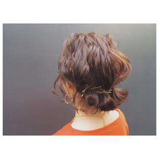 大人女子 簡単ヘアアレンジ ボブ 外ハネ ヘアスタイルや髪型の写真・画像