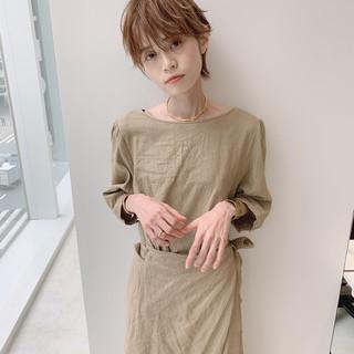 大人女子 ハンサムショート ショート パーマ ヘアスタイルや髪型の写真・画像