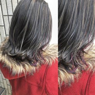 ハイライト ピンク 外国人風カラー ミディアム ヘアスタイルや髪型の写真・画像 ヘアスタイルや髪型の写真・画像