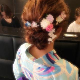 セミロング 夏 まとめ髪 ヘアアレンジ ヘアスタイルや髪型の写真・画像