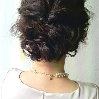 簡単ヘアアレンジ 結婚式 ミディアム ヘアアレンジ ヘアスタイルや髪型の写真・画像 ヘアスタイルや髪型の写真・画像
