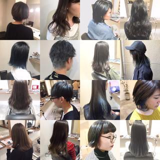アッシュ ミディアム ナチュラル フェミニン ヘアスタイルや髪型の写真・画像