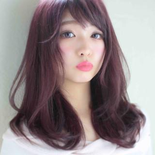 スウィート フェミニン セミロング かわいい ヘアスタイルや髪型の写真・画像