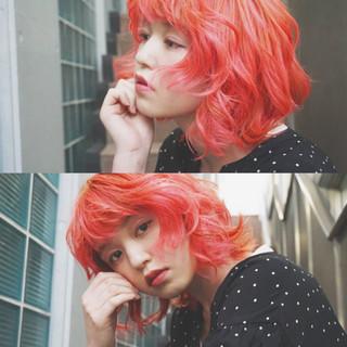 ボブ モード ヘアアレンジ ピンク ヘアスタイルや髪型の写真・画像