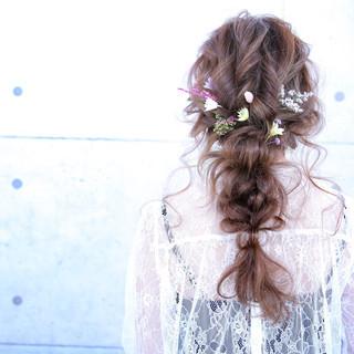 ロング セルフヘアアレンジ 簡単ヘアアレンジ 結婚式 ヘアスタイルや髪型の写真・画像
