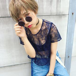 外国人風 ハイライト 大人かわいい ショート ヘアスタイルや髪型の写真・画像