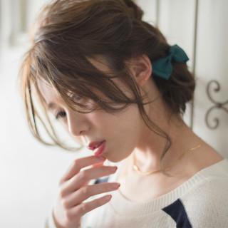 アッシュ ミディアム 大人かわいい 簡単ヘアアレンジ ヘアスタイルや髪型の写真・画像 ヘアスタイルや髪型の写真・画像