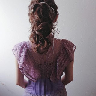 セミロング ガーリー ポニーテール ヘアアレンジ ヘアスタイルや髪型の写真・画像