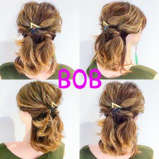 デート ボブ フェミニン 簡単ヘアアレンジ ヘアスタイルや髪型の写真・画像