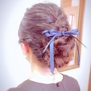 セミロング 結婚式 ヘアアレンジ 涼しげ ヘアスタイルや髪型の写真・画像
