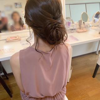 結婚式 デート セミロング ヘアアレンジ ヘアスタイルや髪型の写真・画像
