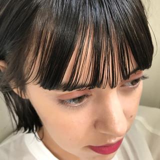 抜け感 透明感 ボブ ワイドバング ヘアスタイルや髪型の写真・画像