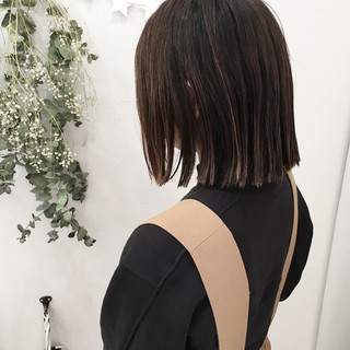 外国人風カラー ナチュラル ストレート ボブ ヘアスタイルや髪型の写真・画像