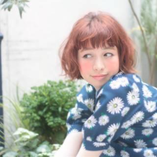 愛され ボブ オン眉 ガーリー ヘアスタイルや髪型の写真・画像