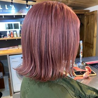 ピンク ボブ ガーリー ピンクベージュ ヘアスタイルや髪型の写真・画像