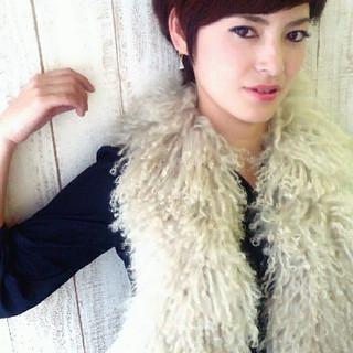 大人かわいい 冬 ショート 暗髪 ヘアスタイルや髪型の写真・画像