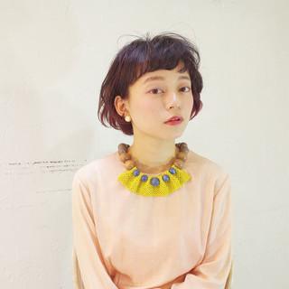 ショート 色気 フェミニン ボブ ヘアスタイルや髪型の写真・画像