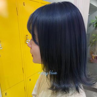 韓国風ヘアー 切りっぱなし ミディアム ブルージュ ヘアスタイルや髪型の写真・画像