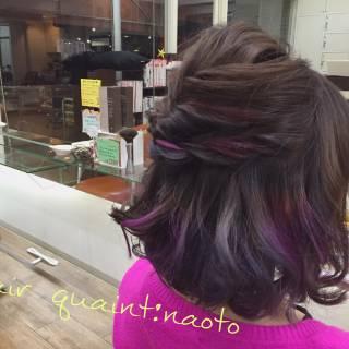 グラデーションカラー ガーリー ボブ ヘアアレンジ ヘアスタイルや髪型の写真・画像
