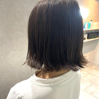 銀座美容室 切りっぱなしボブ 質感カラー ボブ ヘアスタイルや髪型の写真・画像