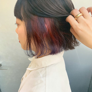 インナーカラー ダブルカラー ストリート ボブ ヘアスタイルや髪型の写真・画像