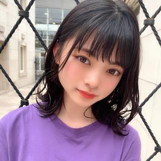 ミディアム 大人可愛い 黒髪 ガーリー ヘアスタイルや髪型の写真・画像