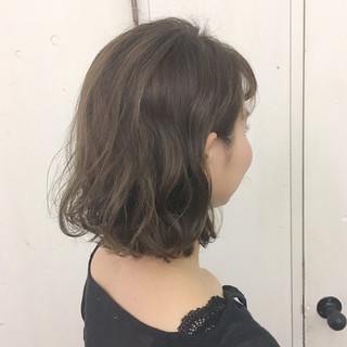 ヌーディベージュ ボブ ミルクティーベージュ ガーリー ヘアスタイルや髪型の写真・画像