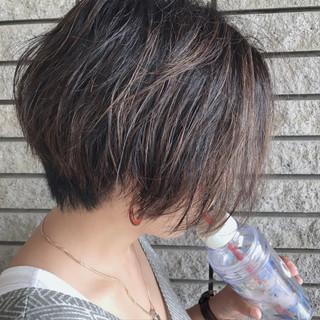 ショート バレイヤージュ 外国人風カラー ハイライト ヘアスタイルや髪型の写真・画像