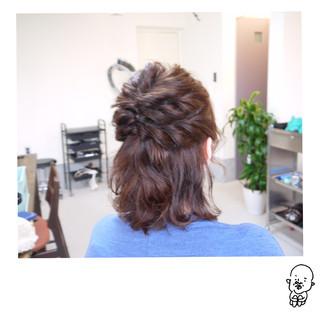 ナチュラル ショート ハーフアップ ヘアアレンジ ヘアスタイルや髪型の写真・画像