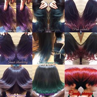 デザインカラー ミディアム 裾カラー グラデーションカラー ヘアスタイルや髪型の写真・画像