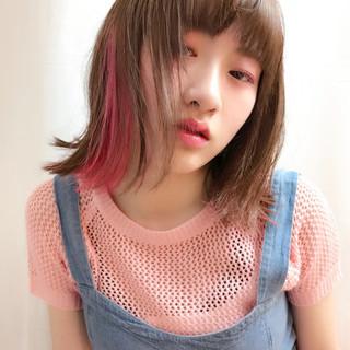 切りっぱなし フェミニン ボブ ピンク ヘアスタイルや髪型の写真・画像