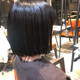 モード ツヤ髪 ショートボブ 切りっぱなしボブ ヘアスタイルや髪型の写真・画像