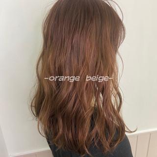 韓国ヘア オレンジベージュ フェミニン ロング ヘアスタイルや髪型の写真・画像