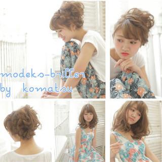 前髪あり ショート ゆるふわ 簡単ヘアアレンジ ヘアスタイルや髪型の写真・画像