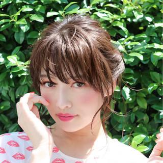 ヘアアレンジ セミロング 簡単 デート ヘアスタイルや髪型の写真・画像