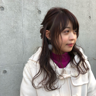 ハーフアップ お団子ヘア 簡単ヘアアレンジ ナチュラル ヘアスタイルや髪型の写真・画像