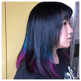 グラデーションカラー セミロング モード ヘアアレンジ ヘアスタイルや髪型の写真・画像