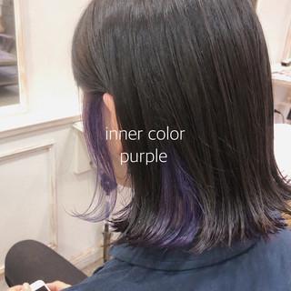 インナーカラーパープル ヘアカラー ストリート アディクシーカラー ヘアスタイルや髪型の写真・画像