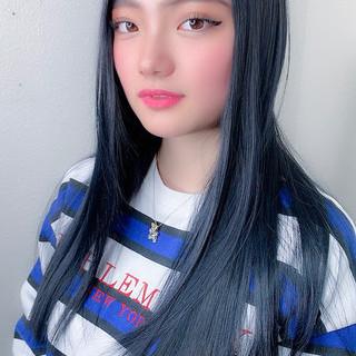 ブルーブラック ネイビーブルー ナチュラル ロング ヘアスタイルや髪型の写真・画像