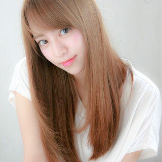 パーマ 縮毛矯正 フェミニン ロング ヘアスタイルや髪型の写真・画像 ヘアスタイルや髪型の写真・画像