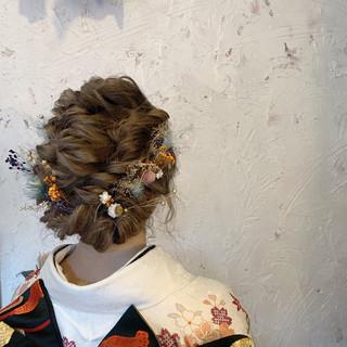 ミディアム 卒業式 成人式 ハイトーンカラー ヘアスタイルや髪型の写真・画像