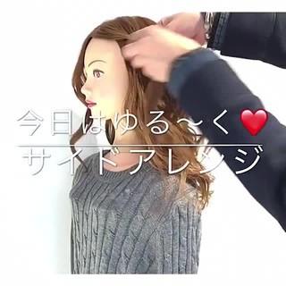 簡単ヘアアレンジ デート フェミニン アウトドア ヘアスタイルや髪型の写真・画像