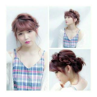 ヘアアレンジ ピンク ゆるふわ 大人かわいい ヘアスタイルや髪型の写真・画像