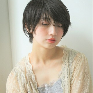 黒髪 ショート 透明感 暗髪 ヘアスタイルや髪型の写真・画像