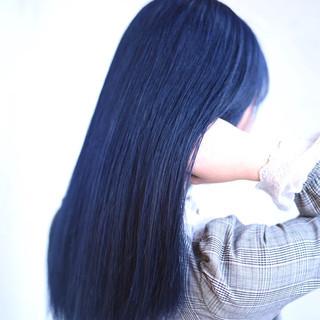 デート セミロング モード インナーカラー ヘアスタイルや髪型の写真・画像